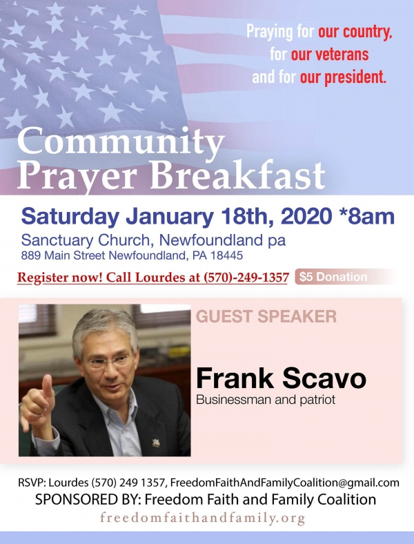 Community Prayer Breakfast 2020 - January 18 - Freedom, Faith and Family Coalition - We hold these truths to be self-evident