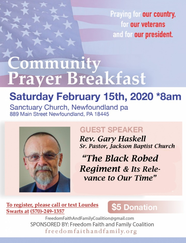 Community Prayer Breakfast - February 15, 2020 - Freedom, Faith and Family Coalition - We hold these truths to be self-evident