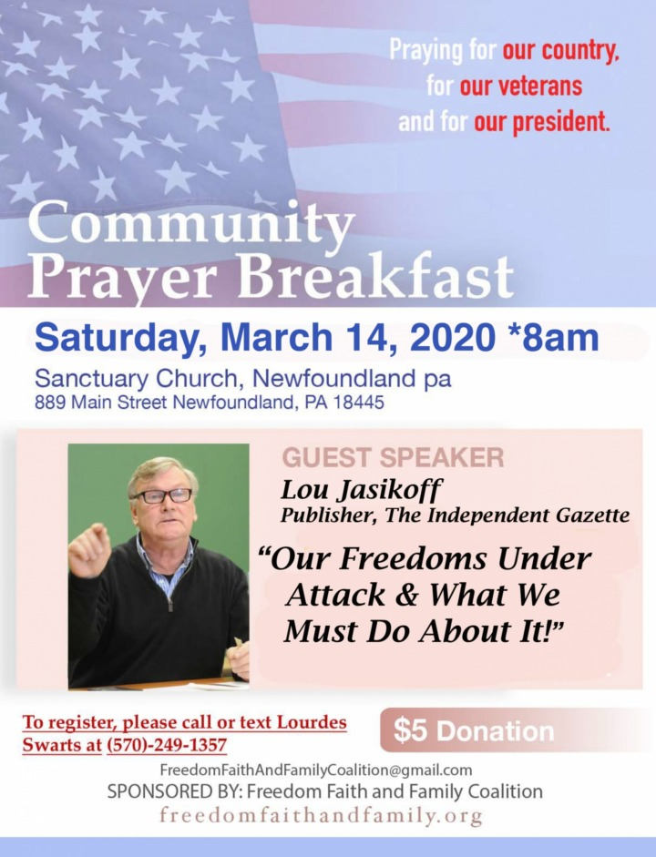 Community Prayer Breakfast - March 14, 2020 - Freedom, Faith and Family Coalition - We hold these truths to be self-evident