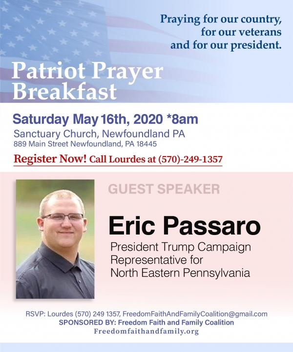 Community Prayer Breakfast 2020 - May 16 - Freedom, Faith and Family Coalition - We hold these truths to be self-evident