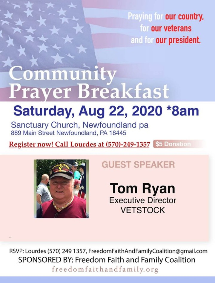 Community Prayer Breakfast - August 22, 2020 - Freedom, Faith and Family Coalition - We hold these truths to be self-evident