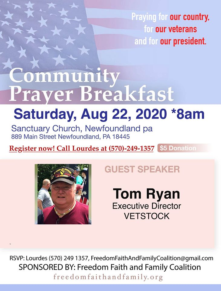 Community Prayer Breakfast featuring Tom Ryan - Freedom, Faith and Family Coalition - We hold these truths to be self-evident