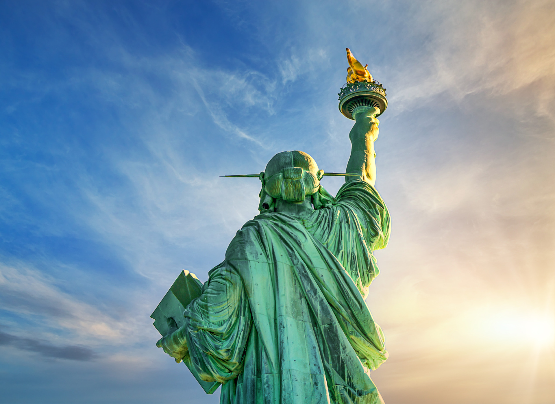 Back side view of the Statue of Liberty, New York, USA